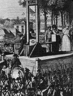 Marie Antoinette's execution by guillotine. Engraving by Isidore Stanislas Helman, 1794.