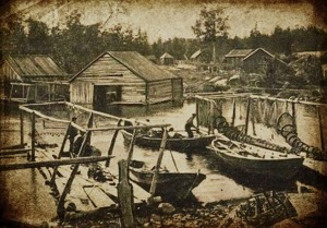 The inner harbor of Grisslehamn 1902