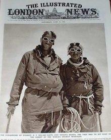 Edmund Hillary och Tenzing Norgay på Mount Everest 1953.