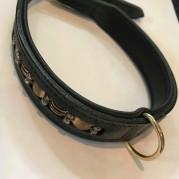Halsband läder blingbling