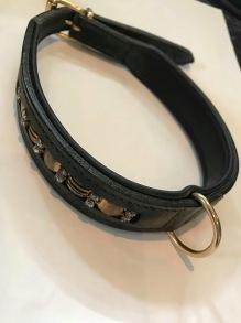 Halsband läder blingbling - 50cm