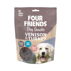 Dog Snacks Venison & Turkey, Four Friends, 200g
