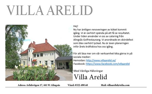 Villa Arelid Nyheter Mail 2016 Sep