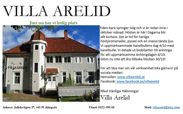 Villa Arelid Nyheter Mail Oktober 2016