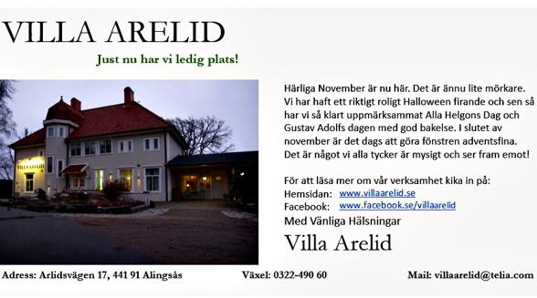Villa Arelid Nyheter Nyhetsmail November 2016