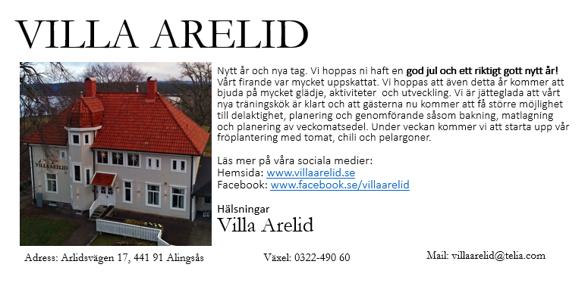 Villa Arelid Nyheter Nyhetsmail 2017 Januari