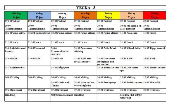 Villa Arelid Nyheter Veckoplanering V.3