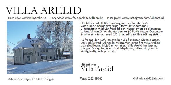 Villa Arelid Nyheter Nyhetsmail 2017 Mars