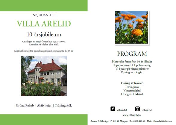 Villa Arelid Nyheter Inbjudan Framsida Baksida