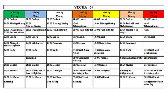 Villa Arelid Nyheter Veckoplanering V.34