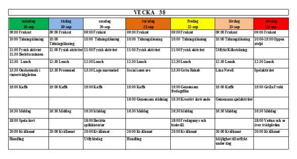 Villa Arelid Nyheter Veckoplanering V.38