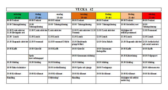 Villa Arelid Nyheter Veckoplanering V.42