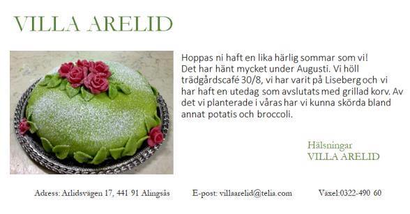 Villa Arelid Nyheter Nyhetsmail 2017 September