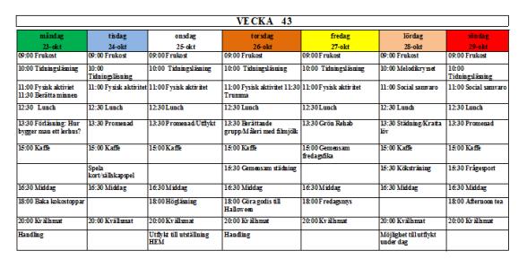 Villa Arelid Nyheter Veckoplanering V.43