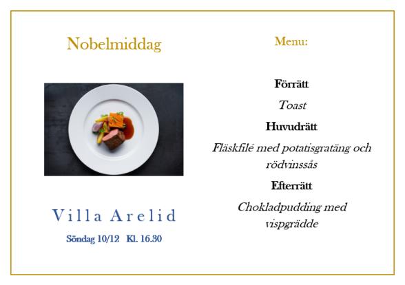 Villa Arelid Nyheter Nobelmiddag 2017