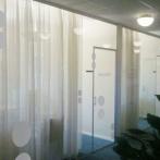Frostade fönsterdekor Skandia Sundsvall
