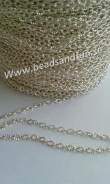 Silverpläterad kedja 4 x 3 x 1 mm - Silverpläterad kedja i järn, nickelsäker. Link: 4mm lång, 3mm bred, 1mm tjock.