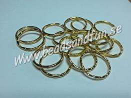 25x1mm, 10-pack - Nyckelring, nickelsäker, guldplätering,  25x1mm, 10-pack