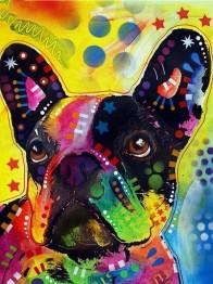 Hund färgglad, rund, 20x25cm - Hund färgglad