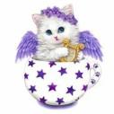 Katt i ägg, fyrkant, 20x20cm