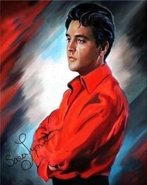 Elvis profil, fyrkant, 40x50cm -