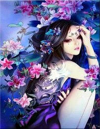 Geisha beauty, fyrkant, 50x65cm -