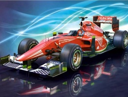 Racerbil, fyrkant, 25x20cm - Racerbil