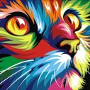 Neon katt, fyrkant, 25x20cm