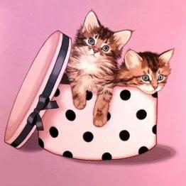 Katter i hattlåda, rund, 20x20cm - Katter i hattlåda, rund, 20x20cm