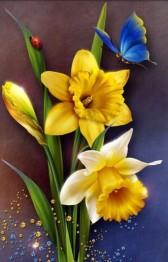 Påskliljor fjäril, fyrkant, 20x25cm - Påskliljor fjäril, fyrkant, 20x25cm