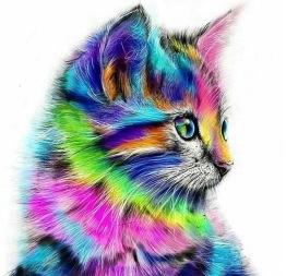 Färgglad katt, rund, 20x20cm - Färgglad katt, rund, 20x20cm
