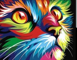 Neon katt, fyrkant, 25x20cm - Neon katt, fyrkant, 25x20cm