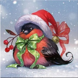 Julfågel, fyrkant, 25x25cm - Julfågel, fyrkant, 25x25cm
