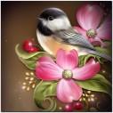 Fågel i blomma, rund 30x30cm