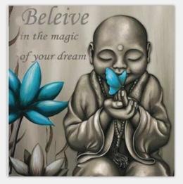 Buddha Believe, fyrkant 40x40cm - Buddha 40x40cm
