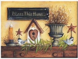 Leveranstid 1,5v - Bless this home, fyrkant 50x40cm - Bless this home 50x40cm