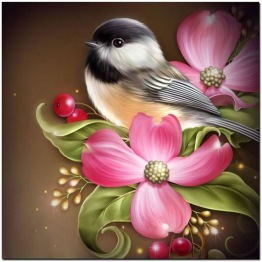 Leveranstid 1,5v - Fågel i blomma, rund 30x30cm - Fågel i blomma 30x30cm