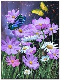 Blomma fjäril, fyrkant 40x50cm - Blomma fjäril 40x50cm