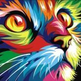 Neon katt, rund, 25x20cm