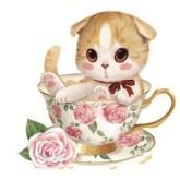 Katt i kopp, rund 30x30cm