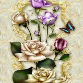 Fjäril i blom, fyrkant 25x30cm