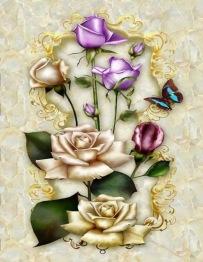 Fjäril i blom, rund 25x30cm - Fjäril i blom, rund 25x30cm
