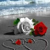 Kärlek i sand, rund, 25x30cm