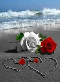 Kärlek i sand, rund, 25x30cm - Kärlek i sand, rund, 25x30cm