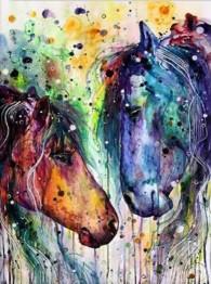 Färgglada hästar, fyrkant, 30x40cm - Färgglada hästar, fyrkant, 30x40cm