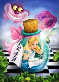 Alice i underlandet, fyrkant, 40x60cm - Alice i underlandet, fyrkant, 40x60cm