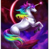 Leveranstid 1,5v - Unicorn regnbåge, fyrkant 30x40cm
