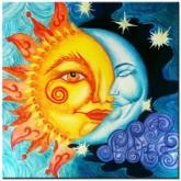 Sol och måne, fyrkant 40x40cm