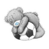 Leveranstid 1,5v - Nalle fotboll, fyrkant 30x30cm