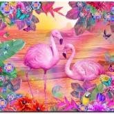 Leveranstid 1,5v - Flamingos, fyrkant 50x40cm